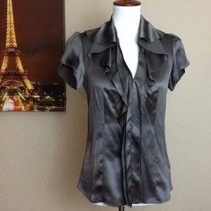 Beautiful BCBG Maxazria 100% Silk ruffles blouse